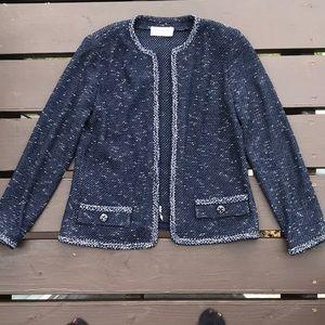 ST JOHN Classic Knit Blue Wool Blazer